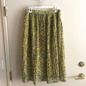 Who What Wear yellow lace midi skirt